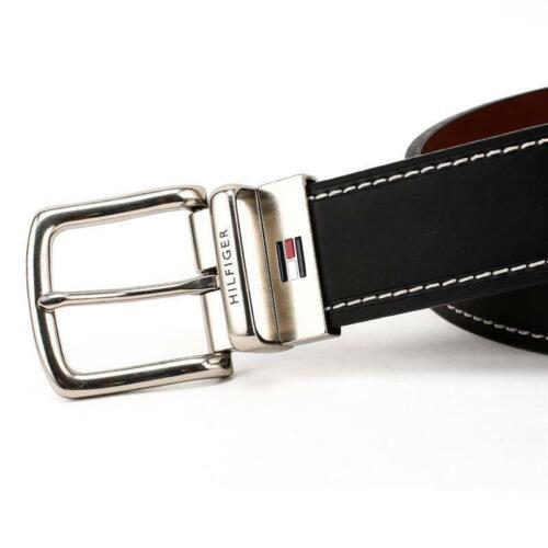 Tommy Hilfiger Men/'s Reversible Contrast Stitching Leather Belt 11TL08X009