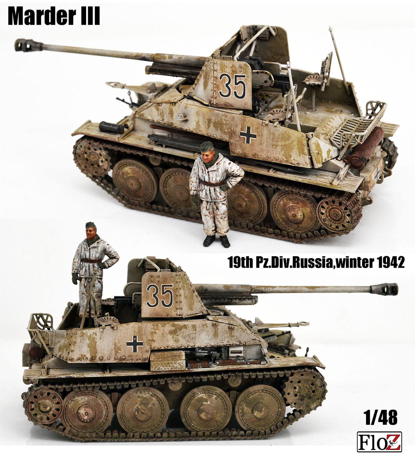 Segunda Guerra Mundial Alemania Marder III SPG Invierno 1942 1 48 floz terminado Tanque Modelo con tripulación