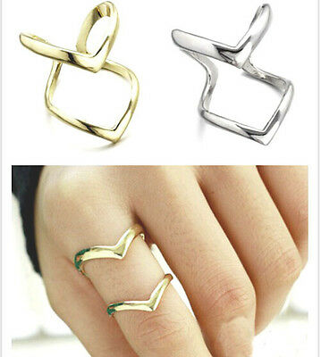Hot Lady Elegant Ring Jewelry Double Arrow Finger Statement Ring #8 Wedding Gift