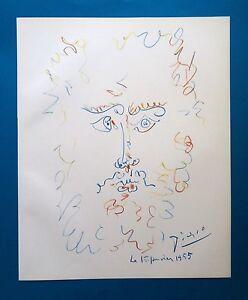 PABLO-PICASSO-BEARDED-MAN-ORIGINAL-VINTAGE-SIGNED-LITHOGRAPH-SPADEM-1959-COA