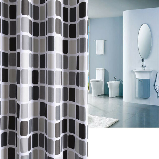 Waterline Fabric Shower Curtain Mosaic Extra Long Wide Bathroom
