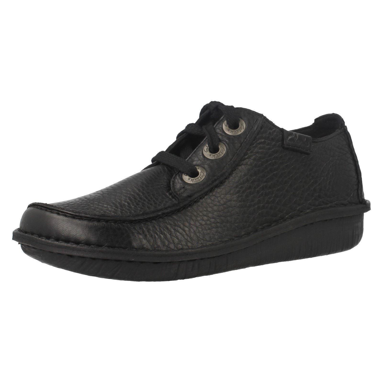 Zapatos casuales salvajes Descuento por tiempo limitado Ladies Clarks Funny Dream Black Leather Casual Lace Up Shoes D Fitting