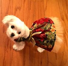 XSmall Christmas Holiday Gold Poinsetta Dress-Dog clothes- Puppy Apparel