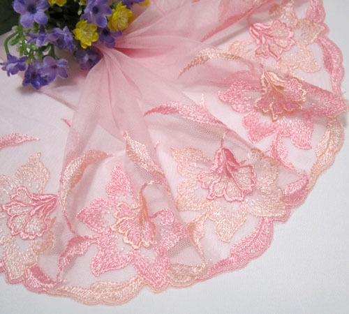 "6.5"" *1 yard  Embroidered Flower Tulle Lace Trim Sewing/Craft~Pink"