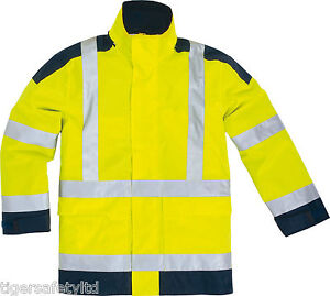 Delta Plus Panoply Easyview Hi Visibility High Viz Waterproof Yellow Jacket Coat