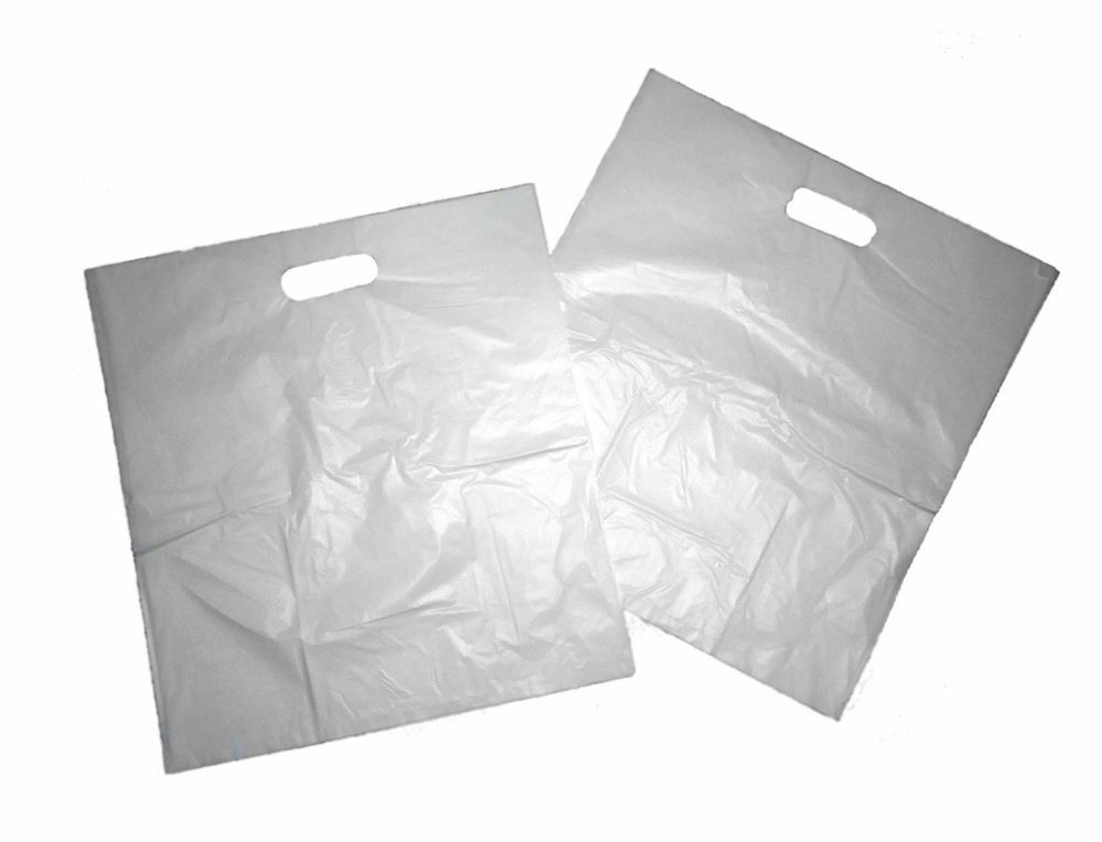 1000 x B3 Weiß Patch Handle Plastic Carrier Bags 14 x14 x4