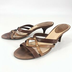 Cole-Haan-Womens-Sz-7-5-M-Brown-Tan-Strappy-Cut-Out-Kitten-Sandals-Heels-Shoes