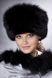 Chapka-Chapeau-Bonnet-Col-Fourrure-Noir-Renard-2-pieces-Luxe-Femme-Elegante-Chic