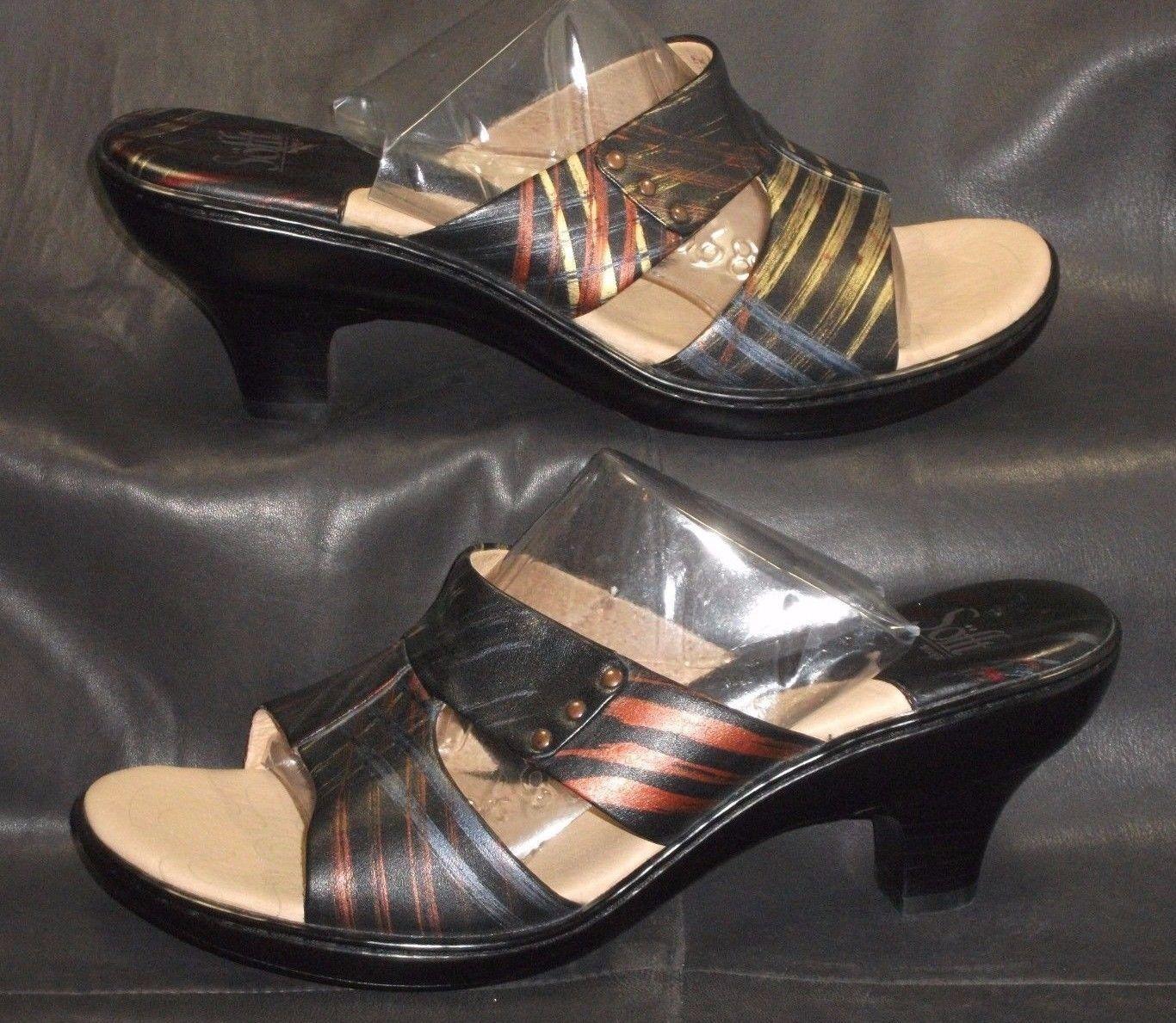 Sofft multi-Color leather open toe mules sandals Women's shoes size 8 1/2 M