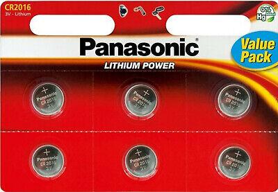 6x Panasonic Knopfzelle Lithium Cr2016 (1x 6er Blister) 3v Cr-2016el/6bp Clear-Cut-Textur