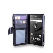 Idefend Sony Xperia Z5 Compacto De Cuero Genuino ranura de ID Funda + Protector De Pantalla