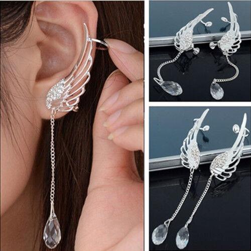 Charm Elegant Angel Wing Crystal Earrings Drop Dangle Ear Stud Cuff Clip FT68
