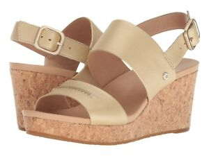 95f4adf3d6b Details about Women's Shoes UGG Elena II Platform Wedge Sandals 1092246  Soft Gold *New*