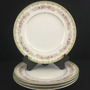 Set-of-4-VTG-Dinner-Plates-by-Meito-Kenwood-Floral-Sprays-Platinum-Japan