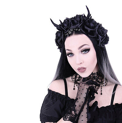 ROSES /& BEADS HEADBAND ANTLERS Restyle Gothic headpiece