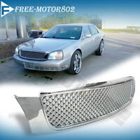 For 00-05 Cadillac Deville Diamond Mesh Style Front Grille Grill Abs Chrome