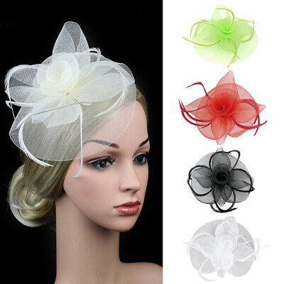 Eg _ Damen Schleier Feder Blume Hochzeit Party Fascinator Hut Haarspange Zubehör