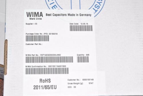 WIMA FKP1 0.22uF 0,22µF 220nF 1pcs 400V 5/% pitch:27.5mm Capacitor