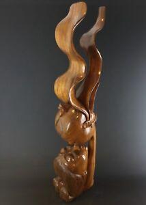 Magnifique-statue-romantique-bois-massif-sculpte-Vintage-INDONESIE-1-07-m