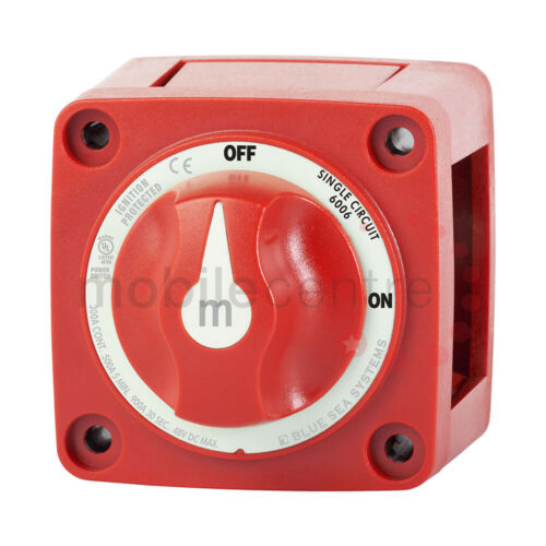 Blue Sea Systems 6006 master switch On Off red knob operated up to 48v DC