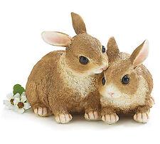 New Brown Bunny Rabbit Snuggling Pair Figurine Easter Spring burton+BURTON