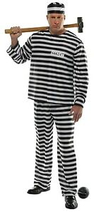 Plus Size//XXL New Adults Jailbird Con Prisoner Costume