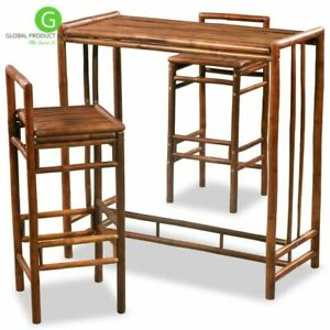 Image Is Loading Outdoor Bar Set Patio Table 2 Stool Rustic