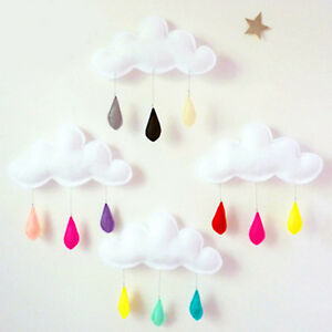 Lovely removable cloud raindrop wall stickers decals mural for Baby mural stickers