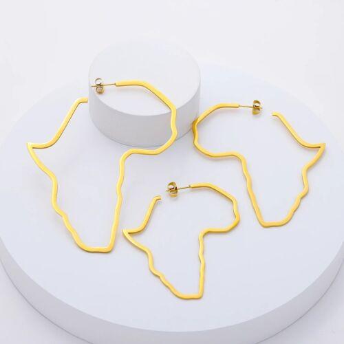 4cm Africa Map Shaped Hoop Earrings