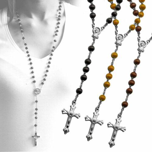 1 Chapelet Rosaire Collier Chaine Avec Une Croix Perles En Bois 50cm Pendentif