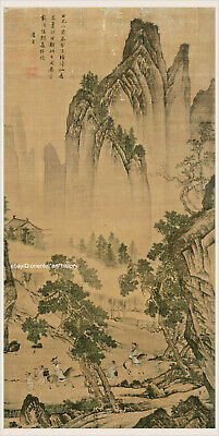 Chinese old scroll painting Crane standing by garden rock by Lv Ji Ming Dynasty