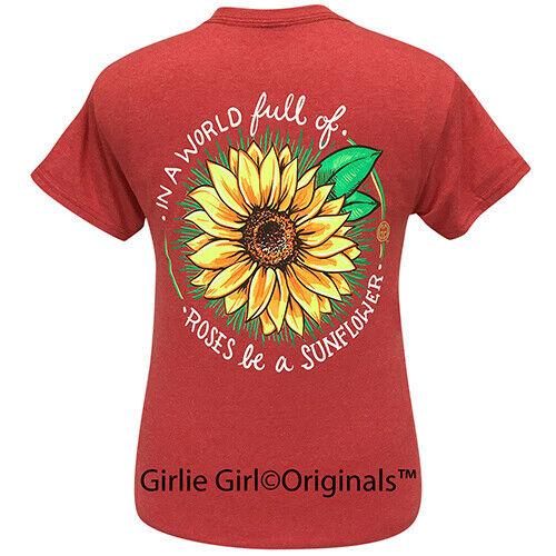 Girlie Girl Originals Tees World Sunflower Heather Red Short Sleeve T-Shirt - 2271