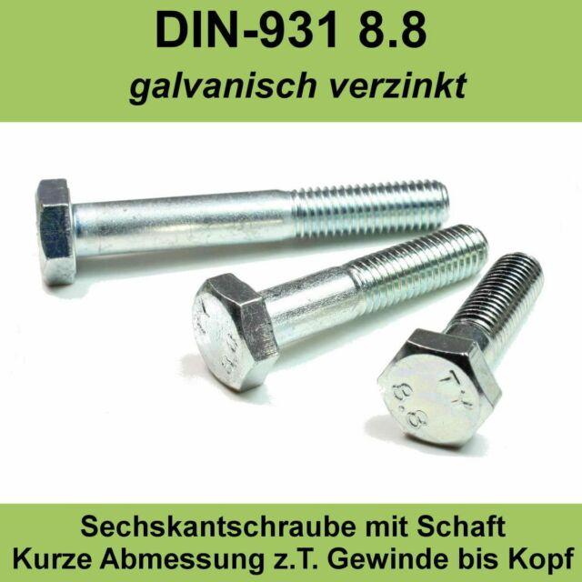 Sechskantschrauben mit Schaft 8.8 verzinkt M8x DIN 931 Stahl Schraube ISO 4014