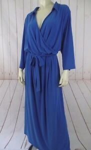 NY-Collection-Woman-Dress-3X-Royal-Blue-Poly-Spandex-Stretch-Knit-Pullover-New