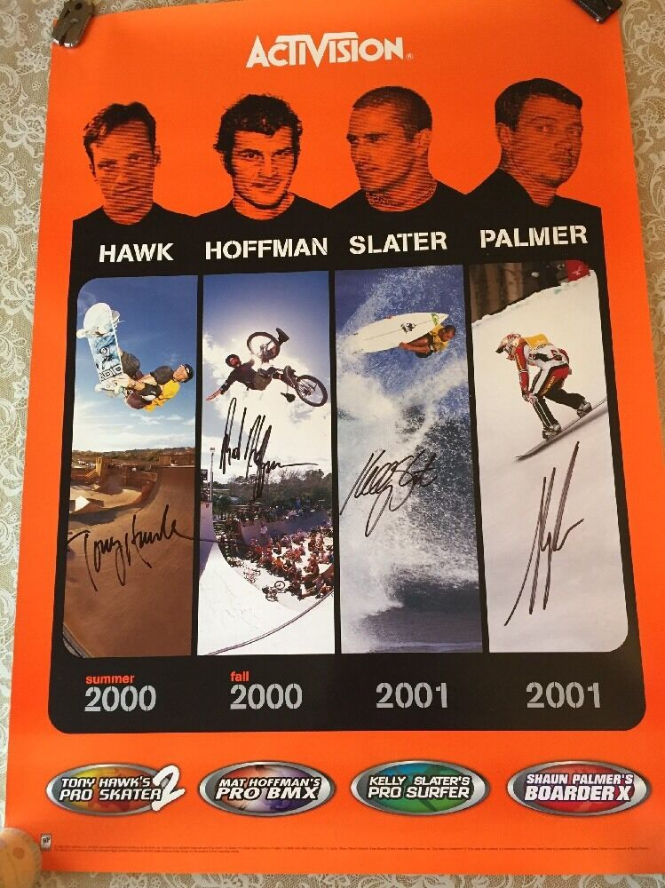 ACTIVISION POSTER SIGNED BY T. HAWK, S. PALMER, KELLY SLATER  & HOFFMAN AUTHENTI  the lowest price