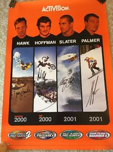 activision poster  ACTIVISION POSTER SIGNED BY T. HAWK, S. PALMER, KELLY SLATER ...