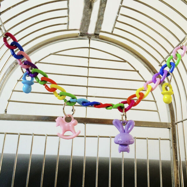 Diy Colorful Birds Parrot Swing Cage Parakeet Cockatiel Budgie Lovebird Toys