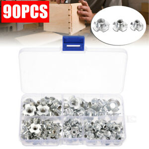 90x Four-Pronged Tee Nuts Assorted Set Plated Carbon Steel M3 M4 M5 M6 M8 UK