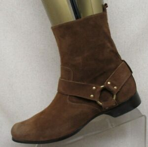 AURI-Brown-Suede-Side-Zip-Harness-Ankle-Cowboy-Western-Boots-Mens-Size-8-5-9