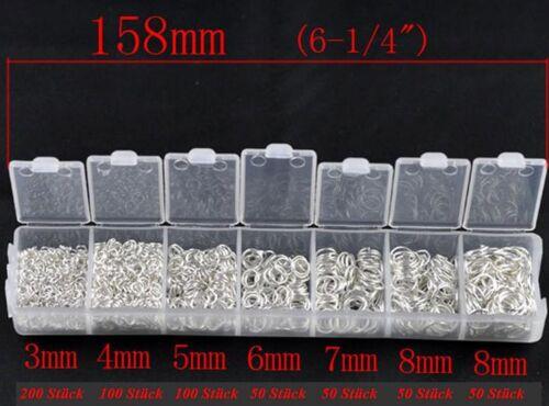 50 pcs 3 mm Acier Inoxydable à cintrer anneaux ouvert argent