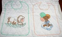 Precious Moments Quilted Fabric Panel Makes 4 Baby Bibs Double Sided Sewing