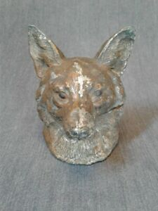 Vintage-Cast-Metal-Fox-Head-Inkwell