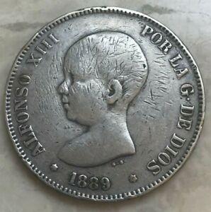 1889 Spain 5 Pesetas - Big Silver