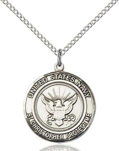 925 Sterling Silver Navy St Christopher Military Soldier Catholic Medal Necklace