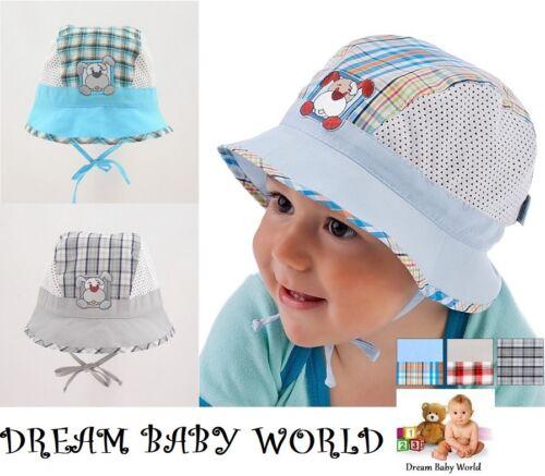 100/% Riche Coton Bonnet été garçon chapeau 9-24 mois Tie Up Kids Cap Chapeaux Garçon