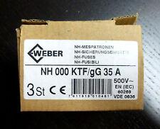 3x Weber NH 000 KTF/gG  Sicherungseinsätze 35A NEU OVP