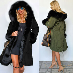 NEW Womens OVERSIZED HOOD PARKA Ladies JACKET COAT FISHTAIL ...