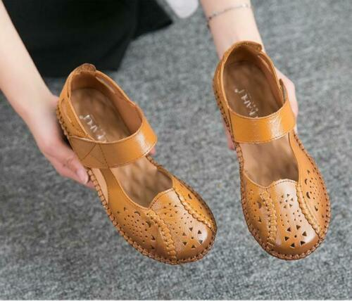 Hot Womens Leather Comfortable Soft Bottom Mary Janes Shoes Hollow Outs Sandals