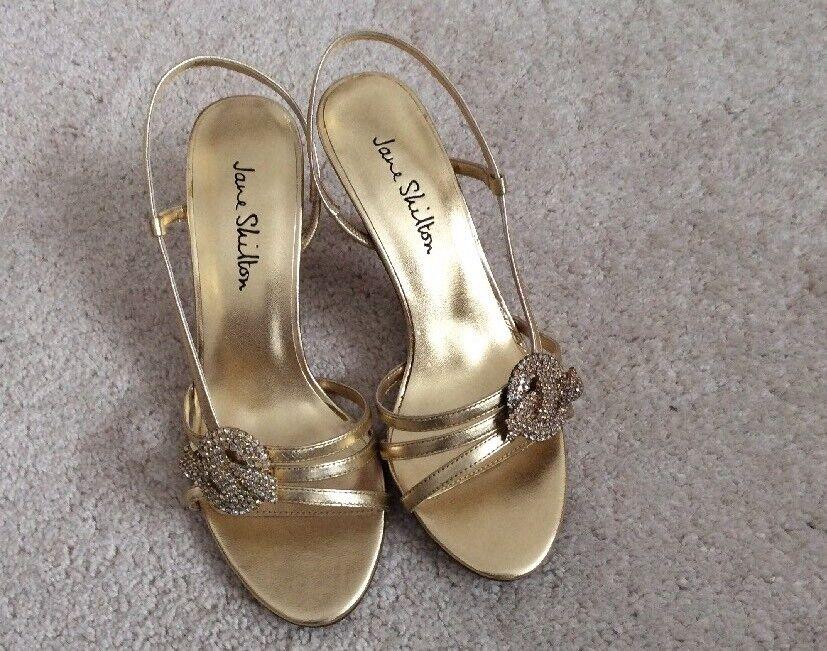 Ladies Jane Shilton 'Ellen' Gold Leather Shoes with Diamante - Size UK 5