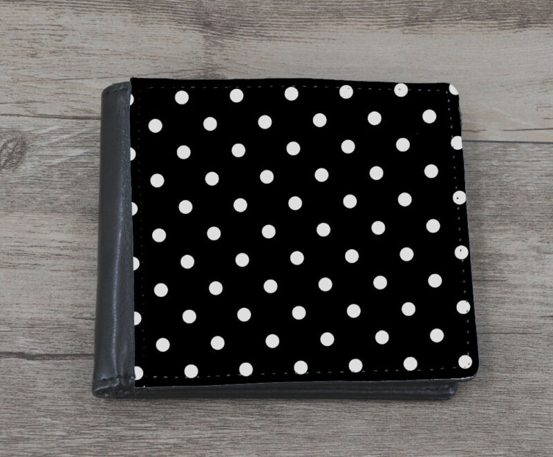 Black And White Polka Dot Mens Leather Wallet Dotted Dots Spots Case & Boys B668